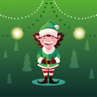 Desenho de natal de elfo com chapéu