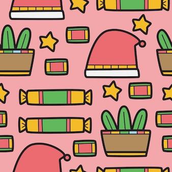 Desenho de natal desenho padrão doodle ilustração