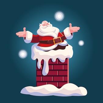 Desenho de natal do papai noel entrando na chaminé