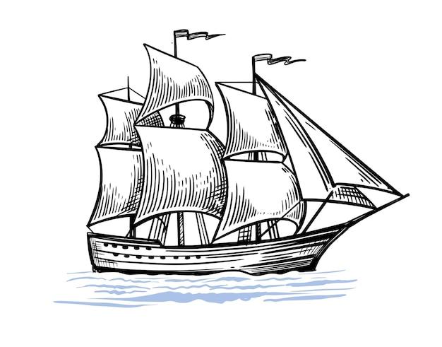 Desenho de navio à vela vintage.