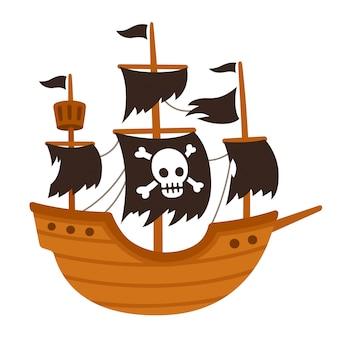 Desenho de navio fantasma pirata
