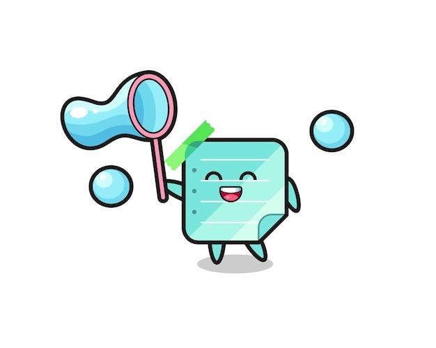 Desenho de notas adesivas azuis felizes jogando bolha de sabão, design de estilo fofo para camiseta, adesivo, elemento de logotipo