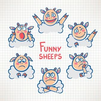 Desenho de ovelha fofa com rostos de emoções diferentes