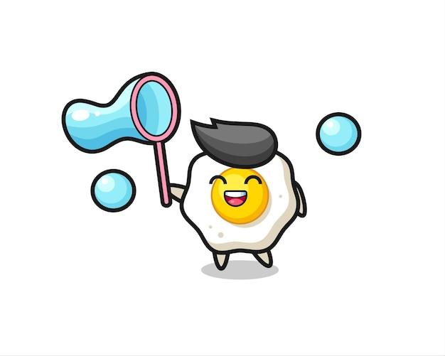 Desenho de ovo frito feliz jogando bolha de sabão, design de estilo fofo para camiseta, adesivo, elemento de logotipo