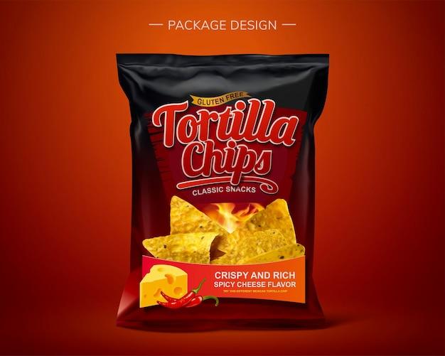 Desenho de pacote de saco de folha de tortilla chips em ilustração 3d
