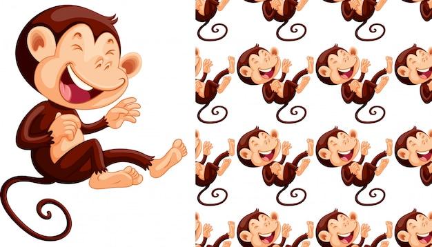 Desenho de padrão animal macaco sem costura
