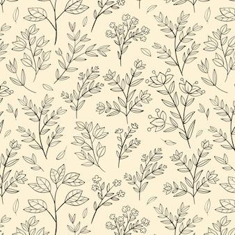 Desenho de padrão botânico de gravura desenhado à mão