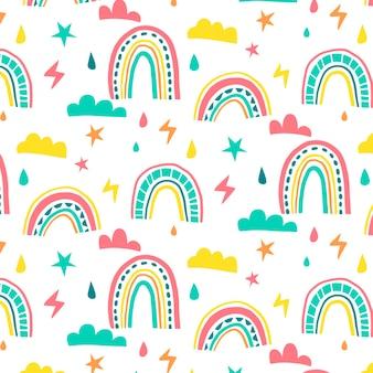 Desenho de padrão de arco-íris desenhado à mão