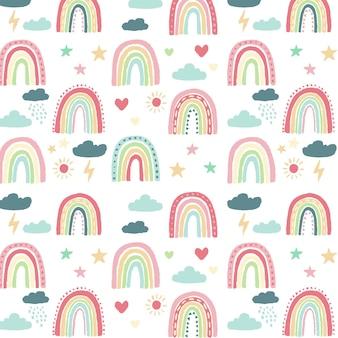 Desenho de padrão de arco-íris pintado à mão