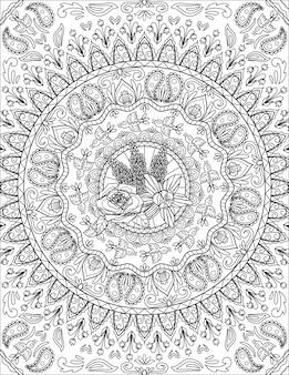 Desenho de padrão de bando de pássaros voando em torno de belas flores e videiras rodeadas por rosas. grupo de desenho de linha de patos flutuando em torno de plantas bonitas fechadas com lilys.