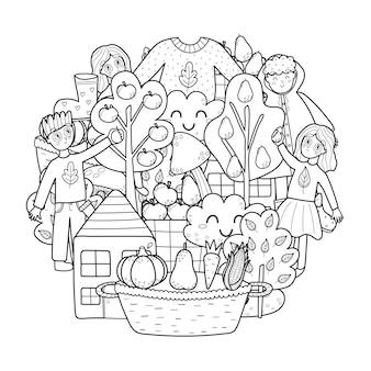 Desenho de padrão de círculo de outono mandala de outono para colorir impressão preto e branco com crianças colhendo