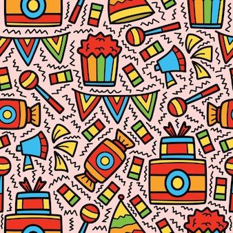 Desenho de padrão de desenho animado de aniversário desenhado à mão