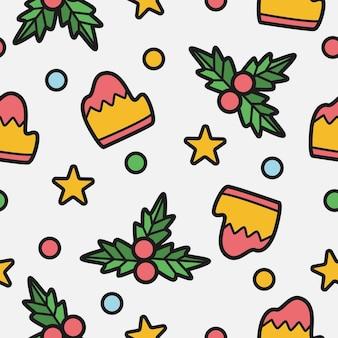 Desenho de padrão de desenho animado de natal