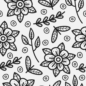 Desenho de padrão de doodle de flor desenhada à mão
