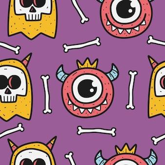 Desenho de padrão de doodle de monstro
