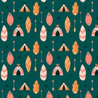 Desenho de padrão de estilo boho colorido