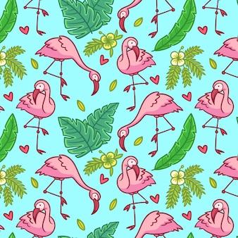 Desenho de padrão de flamingo