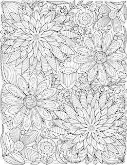 Desenho de padrão de flores bonitas sortidas está crescendo no jardim cercado por vinhas. diferentes tipos de plantas bonitas desenho de linha rastejando no terreno cercam as folhas.