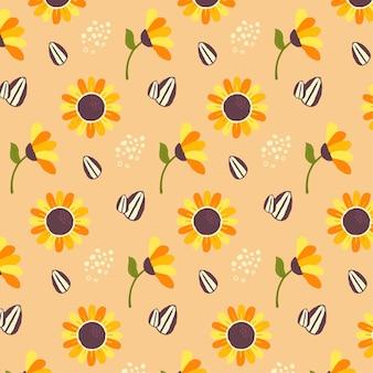 Desenho de padrão de girassol em tons de pêssego