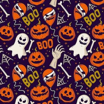 Desenho de padrão de halloween desenhado à mão