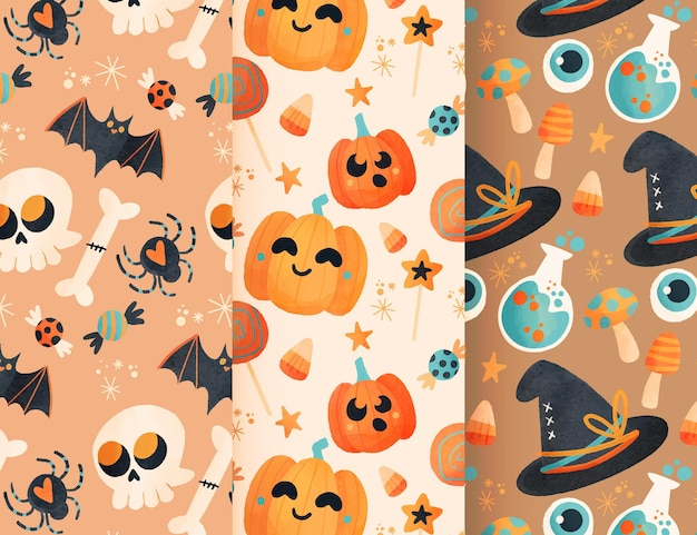 Desenho de padrão de halloween em aquarela