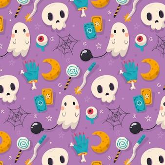 Desenho de padrão de halloween plano desenhado à mão