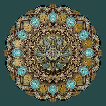 Desenho de padrão de motivos florais em turquesa e tons de terra