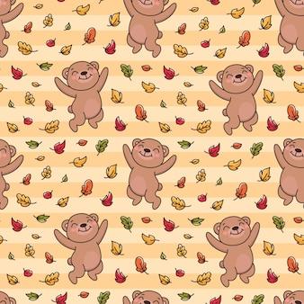 Desenho de padrão de outono com ursinho de pelúcia jogando folhas de outono em estilo cartoon
