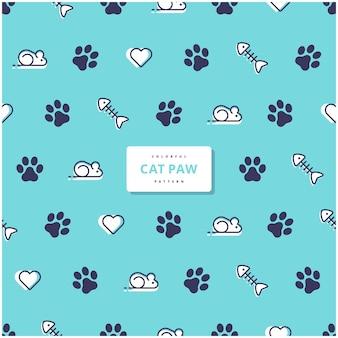 Desenho de padrão de pata de gato fofo
