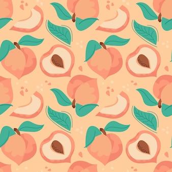 Desenho de padrão de pêssego desenhado à mão