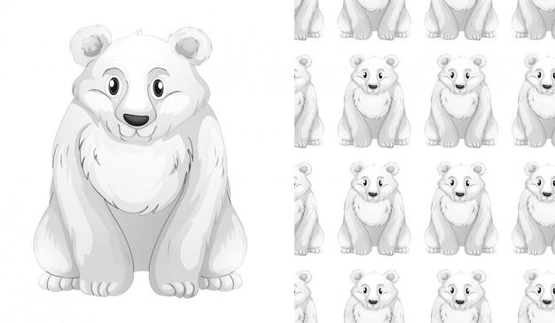 Desenho de padrão de urso de neve isolado