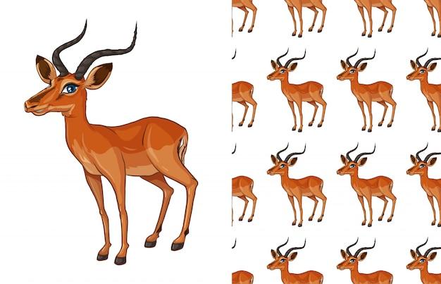 Desenho de padrão de veado isolado