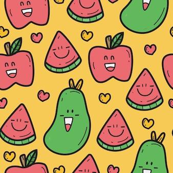 Desenho de padrão doodle de várias frutas