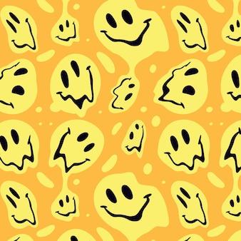 Desenho de padrão emoticon de sorriso distorcido