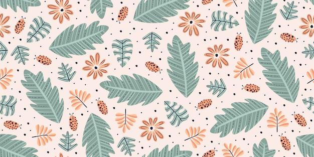 Desenho de padrão floral com cores pastel no estilo vintage