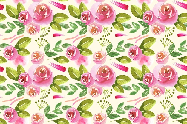 Desenho de padrão floral em aquarela
