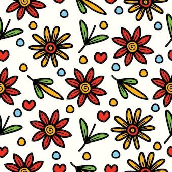 Desenho de padrão floral sem costura desenhado à mão