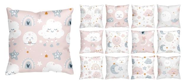Desenho de padrão infantil para o berçário de uma menina com céu estrelado à noite e nuvens sorridentes