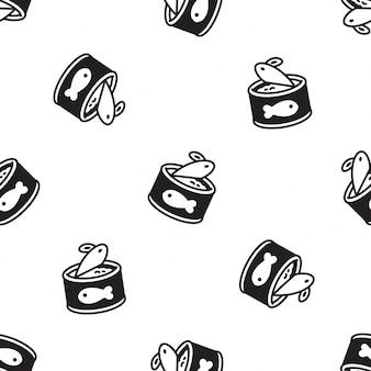 Desenho de padrão sem emenda de comida de gato
