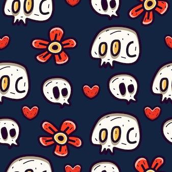 Desenho de padrão sem emenda de crânio de desenho animado