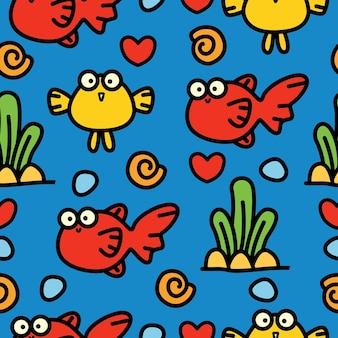 Desenho de padrão sem emenda de desenho de peixe doodle