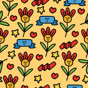 Desenho de padrão sem emenda de flor de desenho animado