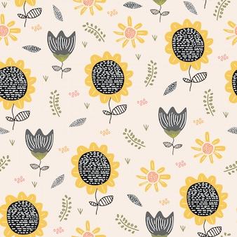 Desenho de padrão sem emenda de flor de sol