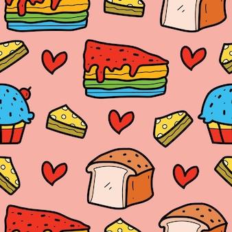 Desenho de padrão uniforme de pão de doodle de desenho animado