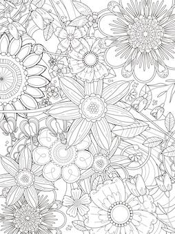 Desenho de página de coloração floral atraente em linha requintada