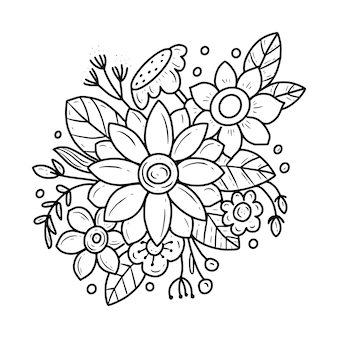 Desenho de página para colorir de arte em linha de flores