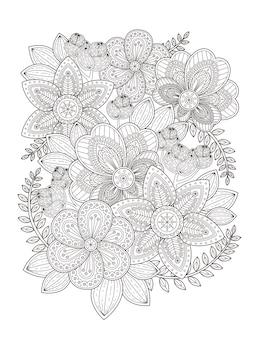 Desenho de página para colorir de flor elegante em linha requintada