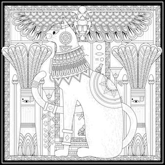Desenho de página para colorir de gato elegante no estilo egito