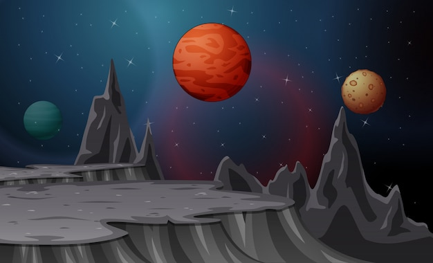 Desenho de paisagem com luas e planetas no céu estrelado