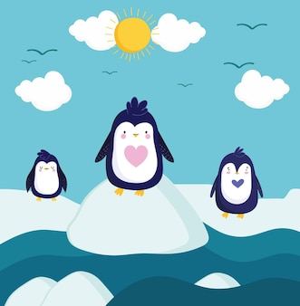 Desenho de paisagem de inverno de pinguins fofos